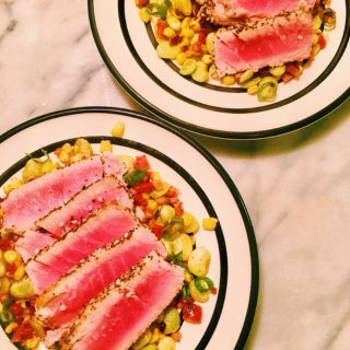 Three-Seed Pepper Crusted Ahi Tuna with Lima Bean Pancetta Medley
